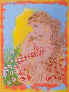 Contemporary Decorative Art, Art Drawings, Drawing Art, Greek Art, Naive Art, Princess Zelda, Disney Princess, Flower Art, Folk Art