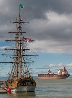 Lady Washington with cargo ship at Antioch, Calif. #ships #sailing #california http://historicalseaport.org/