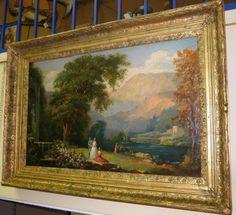 pastoral scenes antique painting | English Pastoral Scene. 19th C. Oil on Canvas,