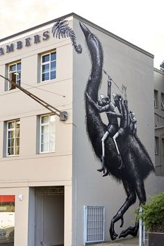 """experienced my first in person Phlegm piece in the Azores - it was as amazing as expected    """"Giant Moa"""" by Phlegm in Dunedin, New Zealand    street art    urban art"""