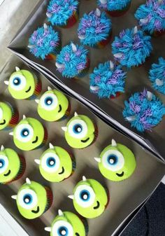Monsters Inc University cupcakes by Ashlie Pieren Goetze Little Monster Birthday, Monster 1st Birthdays, Monster Birthday Parties, Birthday Party Themes, 2nd Birthday, First Birthdays, Birthday Ideas, Monsters Inc Baby Shower, Monster Baby Showers