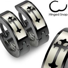SER-0012 Pair of 316L Stainless Steel Black Hinged Huggie Hoop Earring with Gothic Medieval Cross Print; Comes With Free Gift Box by Jinique -- Awesome products selected by Anna Churchill