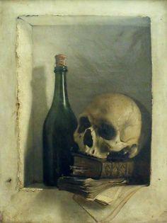 Antoine Wiertz, Une tête de Mort, oil on canvas, 1824