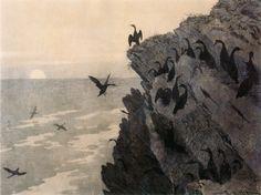 """poboh: """" Skarven på Röst / Cormorants of Rosta, 1888, Theodor Kittelsen. Norweigian (1857 – 1914) """""""