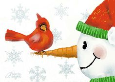 Snowman And The Cardinal Digital Art by Arline Wagner