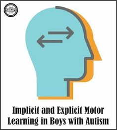 Implicit and Explicit Motor Learning in Boys with Autism | Your Therapy Source. Pinned by SOS Inc. Resources. Follow all our boards at pinterest.com/sostherapy/ for therapy resources.