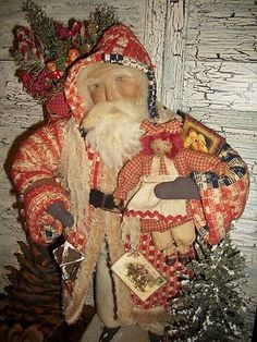Primitive Handmade Santa Claus Collectible Antique Coverlet One of A Kind   eBay
