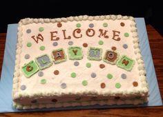 Baby Boy Shower Sheet Cake...we Could Still Make Teeny Little Rice Crispy