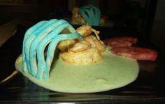Gamberon7 spadellati su purea di zucchine / prawns en casserole with zucchini cream  receipe for Monet in Verona