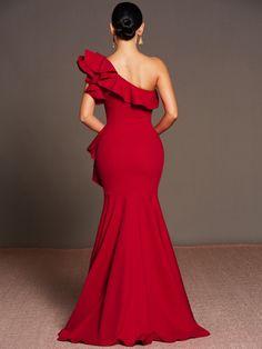 Asymmetric Oblique Collar Ruffle Women's Maxi Dress