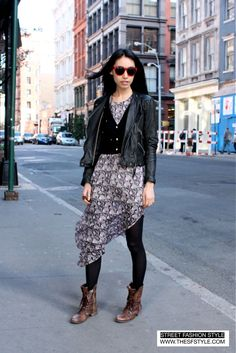 casual: leather jacket, dress, vest, and low heeled boots. source: http://www.thesfstyle.com/