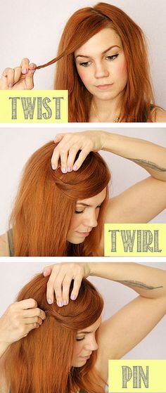 hair twist diy by Skunkboy Creatures., via Flickr Good way to pull back short layers around face.