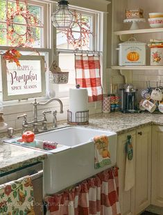 Fall Kitchen - - Farmhouse kitchen with fall decor - homemade sink skirt, napkin curtains, farmhouse sink. Farmhouse Sink Kitchen, Cottage Kitchens, Home Kitchens, Kitchen Dining, Farmhouse Homes, Country Farmhouse, Country Kitchen Diy, Red Country Kitchens, Kitchen Sink Decor