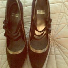 Stuart Weitzman Mary Janes shoes heels Almost new Stuart Weitzman brown suede and gold Mary Janes wonderful timeless and of great quality. Please note: this are size 7 N Stuart Weitzman Shoes Heels