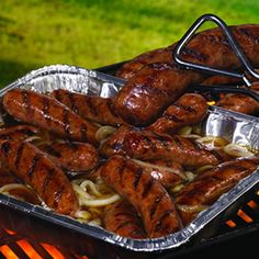 Brat Tub Brats (Put Pan on Grill, Pour in 2-3 Beers, 2 Tablespoons Butter and 1 Yellow Onion, Grill Brats, Toss Into Brat Tub)