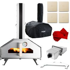 c0a27b1aa19 Uuni Pro Portable Outdoor Wood-Fired Pellet Pizza Oven Bundle W  Gas Burner    Cover   Bag - Stainless Steel