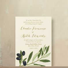 Olive Branch Wedding Invitations by oakandorchid on Etsy