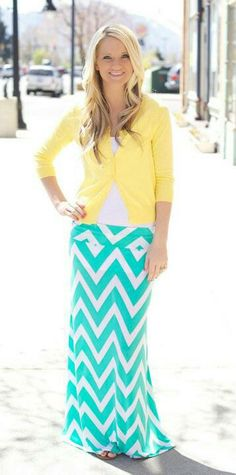 One of my favorite color combos for this spring/ summer! Yellow cardigan with teal chevron skirt