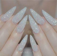 White glitter stiletto nails