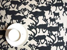 Tablecloth beige with black deers Nordic ,also napkins , table runner , pillow covers , curtains , kitchen valances available, great GIFT
