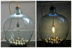 A fantastic upcycling DIY project or how to transform an old carboy onto a stylish lamp. Demijohn Ideas, All Of The Lights, Bottle Garden, Frame Wall Decor, Wood Lamps, Wine Bottle Crafts, Lamp Design, Furniture Makeover, Christmas Bulbs
