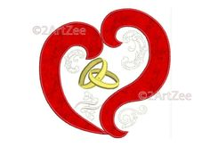 Heart and Wedding Rings Applique and Machine Embroidery Design