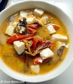 Chinese Tomato Tofu Soup. www.china-memo.com #recipe #chinesefood #homecooking
