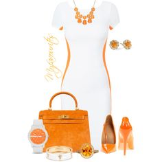 Orange and White by myfavourites on Polyvore featuring L.A.M.B., Hermès, Armani Exchange, Fornash, Astley Clarke, Juicy Couture, Summer, chic, summeroutfit and orangeandwhite