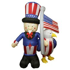 6 Foot Inflatable Lighted Uncle Sam American Flag And Eagle Yard Art Decoration