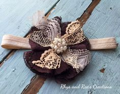Brown Lace Fabric Flower Brooch, Vintage Brown, Baby's Headband, Girls Headband, Brown Lace Hair Flower, Women's, Hair Clip, Brown Headband by RhysandRaesCreations on Etsy https://www.etsy.com/listing/263656280/brown-lace-fabric-flower-brooch-vintage
