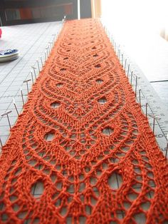Free pattern on Ravelry. Nice pattern and  the correct way to block knitted lace.