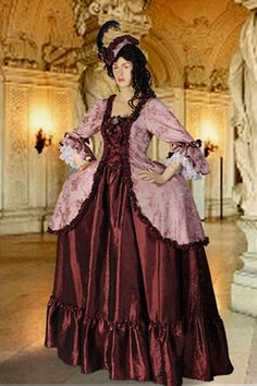Baroque Dress Antoinette No. 30 Burgundy - 351.00 USD - Medieval and Renaissance Clothing, Handmade by Your Dressmaker