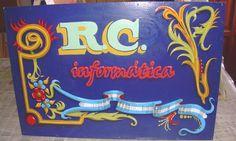 Cartel  para negocio de informática.  Fileteado Porteño / Poster for business computing. Fileteado Porteño
