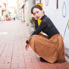 mid skirt :) k-fashion