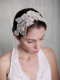 Silver Crystal Bridal Headpiece, Art Deco Rhinestone beaded headdress, Bridal Veil, Pearl, Juliet Cap Veil, Gatsby Hair piece, STYLE 230