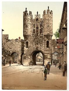 This Victorian photochrom image shows Micklegate Bar, York. Micklegate Bar was the most important of York's four main medieval gateways and the focus for grand events. The lower section of the bar dates from the century, the top two storeys from the York England, Yorkshire England, North Yorkshire, Château Fort, British Isles, Old Pictures, Great Britain, Beautiful Places, Places To Visit