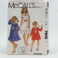 Vintage McCalls 7913 Girls Ruffled Sailor Dress Dickey Tie Size 6 Sewing Pattern #McCalls…
