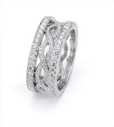 The design on this ring is unique with the intertwining rows of diamonds. *