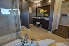 Owner's ensuite in the Tofino II showhome in Hillcrest in Airdrie by Shane Homes.