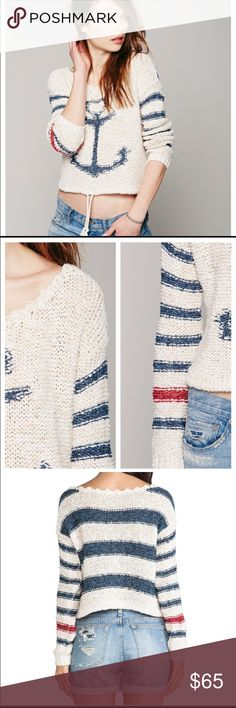 Free People sweater So cute! Free People Sailor Sung Sweater. Super comfy. Size Small. Super soft comfy sweater with wide neck and loose boxy fit, true true to size. Hemmed at natural waist. Cotton blend. In excellent  condition. No trades. Free People Sweaters
