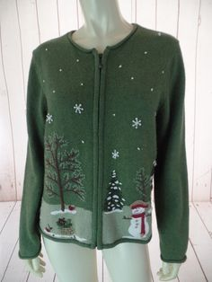CROFT & BARROW PETITE Ugly Christmas Sweater PM Olive Green Heather Zip Front Ramie Nylon Acrylic Blend Snowman Trees Embroidery Applique FESTIVE!