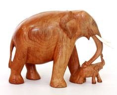 Elephant with baby Figurine - Hand carved from ICMCM on Etsy