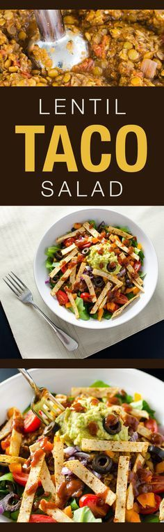 Lentil Taco Salad with crispy corn tortilla strips - a delicious vegan and gluten free recipe | VeggiePrimer.com ≈≈★★★≈≈ P.S.: ARE YOU or your friends VEGAN(S)? Look at this vegan CUSTOM NAME SHIRTS and brand them with your (their) name(s). Great discounts available: https://shirtsheaven.com/vegan