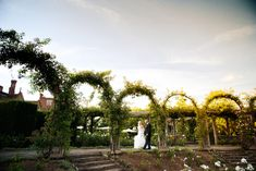 A fabulous white and gun metal themed Great Fosters Summer wedding. Here the bride and groom walk in the rose garden at sunset. The venue offers a stunning location for photography. Great Fosters, Surrey, Wedding Shoot, Summer Wedding, Photo S, Gun, Dolores Park, Groom, Country Roads