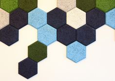 Trӓullit Dekor acoustic hexagons by Form Us With Love in the Zahavi showroom, Israel