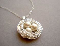 Bird Nest Necklace white and sterling silver by MDsparks on Etsy, $25.00