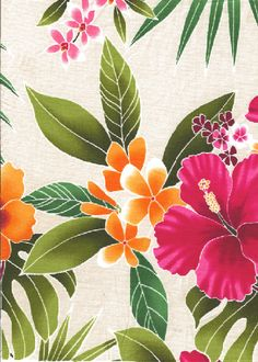 30ukuhi 44/45 Wide, All-Over. Stylized, multi-colored hibiscus, plumeria, orchids and ferns.  More fabrics at: BarkclothHawaii.com