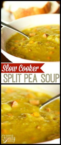 Slow Cooker Split Pea Soup is loaded with yummy veggies! It is very healthy and creamy and full of flavor! Way better than the canned stuff. Crock Pot Soup, Crockpot Dishes, Crock Pot Slow Cooker, Crock Pot Cooking, Slow Cooker Recipes, Crockpot Recipes, Soup Recipes, Cooking Recipes, Recipies