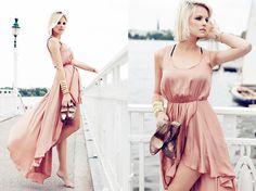 Gorgeous Dress! Love Peach Asymmetrical Maxi Dress, Casadei Peeptoes, H