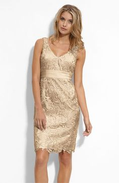 Rehearsal dinner? Adrianna Papell V-Neck Lace Sheath Dress available at #Nordstrom Bridesmaids mix match
